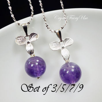 Bridesmaid Necklace Set - Bridesmaid Jewelry  -   Bridesmaid Gifts  Genuine Amethyst Necklace Tiny Silver Orchid Flower Necklace