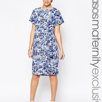 ASOS Maternity Waterfall Dress In China Blue Print