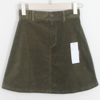Dark Green Corduroy Mini Skirt