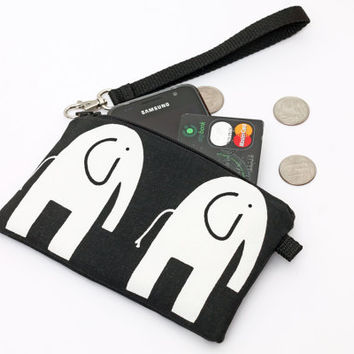 Cell Phone Clutch, Small Wallet with Removable Wristlet Strap, Small Makeup Bag, Padded Zipper Pouch-  white elephants marching in black
