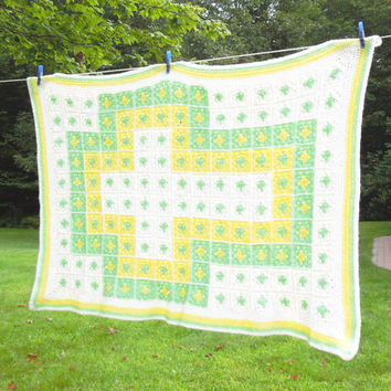 """Crochet baby blanket afghan throw in pastel white green yellow 47"""" x 32"""""""
