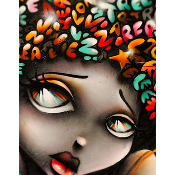 Graffiti Art Wall Mural Decal Sticker of Girl #6007