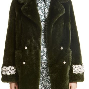 Shrimps Imitation Pearl Trim Faux Fur Jacket | Nordstrom