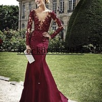 Gorgeous V Neck Sheer Long Sleeve Mermaid Sexy Pageant Celebrity Prom Dress Gown