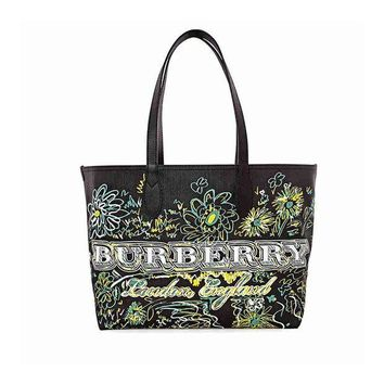 ONETOW Burberry Reversible Flower Doodle Canvas Tote - Black