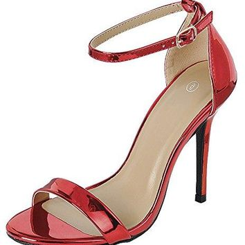 Cambridge Select Womens Open Toe Single Band Buckled Ankle Strap Stiletto High Heel Sandal