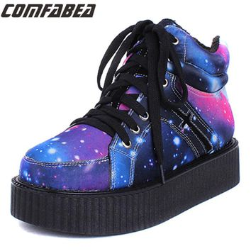 Pattern shoe Womens Winter Punk Shoes 2017 Harajuku Creepers Platform Women Casual Comfortable Galaxy Blue Goth Punk ankle boots