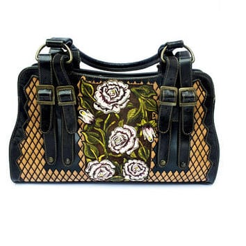 Tooled Leather Handbag with Hand-painted details and luxurious leather interior