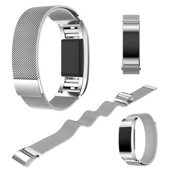 Silver Milanese Loop Watch Band for Fit bit Charge 2 Sport Magnetic Buckle Mesh Stainless Steel Belt Bracelet Strap Wristband