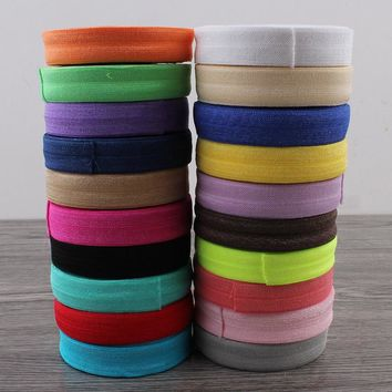 """50yards/lot 5/8"""" (16mm) 20colors Shiny Solid Fold Over Elastic Ribbon FOE for Elastic Headbands Hair Ties Hairbow"""