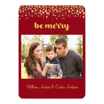 Christmas, Gold Confetti, Custom Photo Card