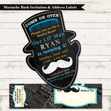 Mustache Bash Birthday Invitation with Wrap Around Address Label - Vintage Inspired - Blackboard Silhouette, Lil Mister - Custom, Printable