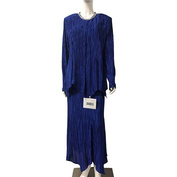 Hosanna 3881 Royal Blue Plus Size 3 PC Dress Set Tea Length Jacket Top