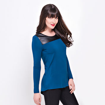 Lysse Leather Modal Top