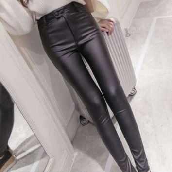 Womens Slim pencil leather pants
