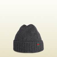 Gucci - knit hat with flag web detail. 2845874G2051200
