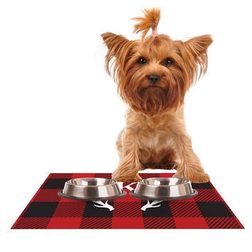 "KESS Original ""Red Plaid Monogram"" Dog Place Mat"