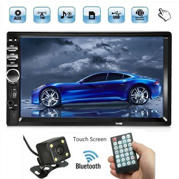 "7"" HD Bluetooth In Dash Touch Screen 2 Din Car Stereo Radio BT Function FM AUX USB SD MP3 MP5 Player  Remote Controller Power Cable  Steering Wheel Remote Control Rear View Camera"