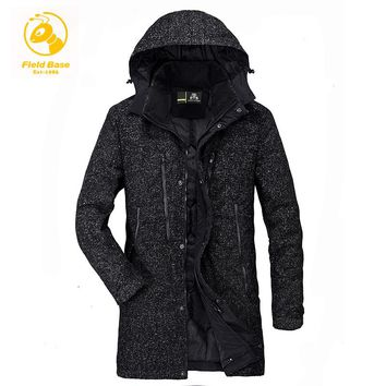 Field Base Men's Winter Jackets Coats Thick Warm Fashion Casual Stand Collar Removable Hood Long Parkas Jaqueta Masculina