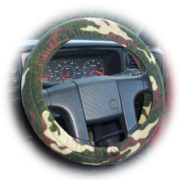 Camouflage Camo green army print fleece car Steering wheel cover
