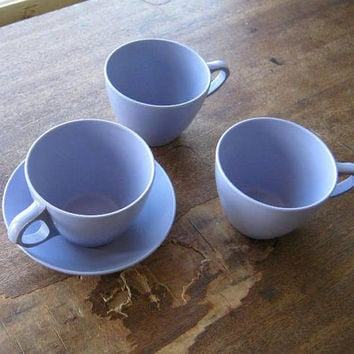3 Lilac/Lavender Purple Melmac Mugs + 1 Bowl~Midcentury Vintage Royalon 'Corsage' Purple Melamine Bowl/Mugs