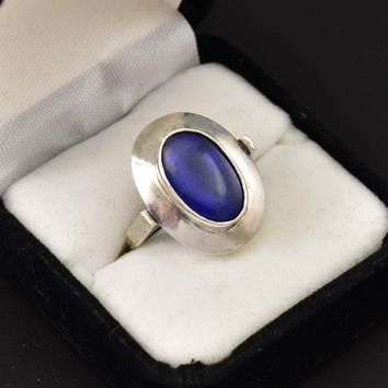 Bold Arts and Crafts Blue Quartz Silver Ring