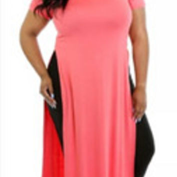 Women Seductive Pink Solid O-neck High Split Maxi Dress