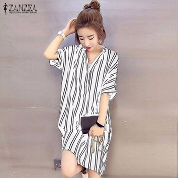 ZANZEA 2016 Hot Sale Women Summer Dress Sexy V Neck Short Sleeve Casual Loose Striped Shirt Dress Mini Vestidos Plus Size