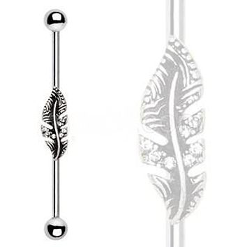 316L Stainless Steel Jeweled Leaf Industrial Barbell