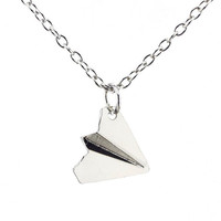 Harry Style Inspired Paper Airplane Pendant Necklace Chain Jewelry