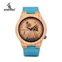 BOBO BIRD Men Wood Watches Top luxury Brand Design bamboo Wooden WristWatches With Leather Bands in