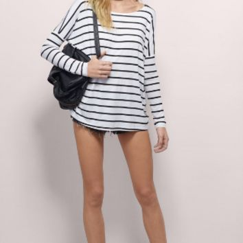 Striped Sleeve Loose Cotton T-Shirt
