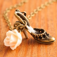 Shoe Necklace - high heel necklace, shoes necklace, shoes pendant, antiqued brass shoes
