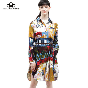 2016 autumn winter cotton and linen ethnic Graffiti printed plus size women's clothing long sleeve long shirt blouse real photo