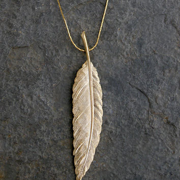 Gold Feather Necklace,Wedding jewelry, bridal jewelry ,wedding necklace,Gold Feather pendant , Gold Feather Charm Necklace MADE TO ORDER