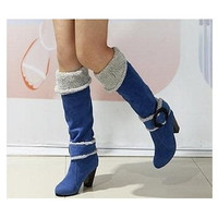 New arrival high quality fashion Snow Boots Big size 34-43 Square High Heels Knee High Winter Shoes for Women Sexy Warm Fur Buckle Fashion Boots on sale