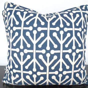 Dark blue sofa pillow cover 20x20, trellis bed pillow retro decor, large geometric cushion, blue couch pillow dorm room, retro pillow piping