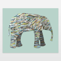 Elephant Collage in Gray Seafoam and Aqua Art Print by elephanttrunkstudio on BoomBoomPrints
