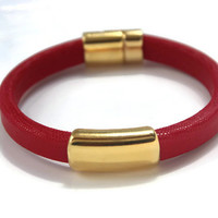 Red Bangle Red Leather Bangle Red Leather Bracelet Statement Bangle Gold Focal Magnetic Clasp Gold Ribbed Magnetic Clasp Grad Gift