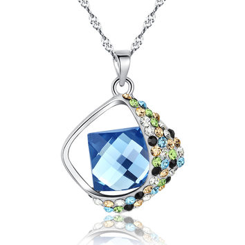 Rhinestones Square Swarovski Elements Crystal Pendant Necklace (Blue)