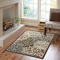 Better Homes and Gardens Mixed Floral Rug, Dark Brown - Walmart.com