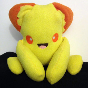 Cute Monster Plush  Chibi Anime Inspired Creature - Super Kawaii Plushie Handmade Rainbow Colors  - Neon Yellow -