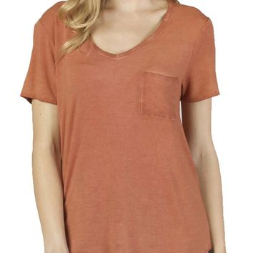 Dear John Paityn Dirty Wash V-Neck Terracotta Tee