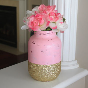 Pink Vase, Pink and Gold Vase, Pink and Gold Centerpiece, Mason Jar Centerpiece, Painted Mason Jar, Pink Mason Jar, Baby Shower Centerpiece