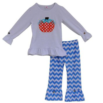 Free Shipping Girls Clothing Sets Cute Pumpkin Pattern Pullover Tops Chevron Ruffle Pants Outfit Halloween Costume For Kids H014