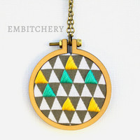 Geometric Necklace - Mini Hoop Necklace - Mini Embroidery Hoop - Triangle Necklace - Wearable Art - Triangle Jewelry - Gifts Under 20 - OOAK
