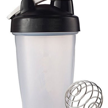 BONISON Mix Whip Blend & Shake Clear Colored Screw Top Shaker Bottle Wire Whisk Sport Mixer Smoothie Protein Weight Loss Shakes & Powders with Handle, Black, 14 oz