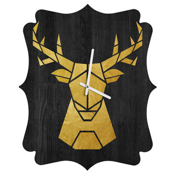 Nick Nelson Deer Symmetry Quatrefoil Clock