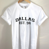 Dallas Est. 94 White Graphic Unisex Tee