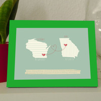 Framed Personalized long distance art print map long distance friendship or love